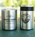 Austin Parks Foundation YETI colster and lowball tumbler