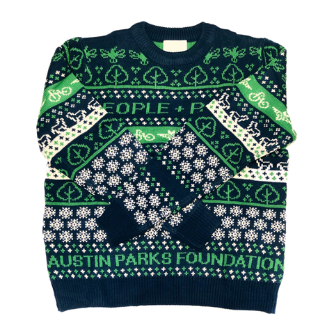Austin Parks Foundation Parks and People Green and Blue Holiday Sweater