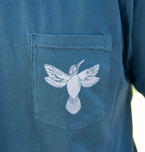 Front pocket with hummingbird design on short sleeve t-shirt, designed by Fine Southern Gentlemen