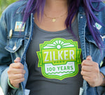 Close up on Zilker 100 logo on Zilker 100 Gray Ladies' Tank