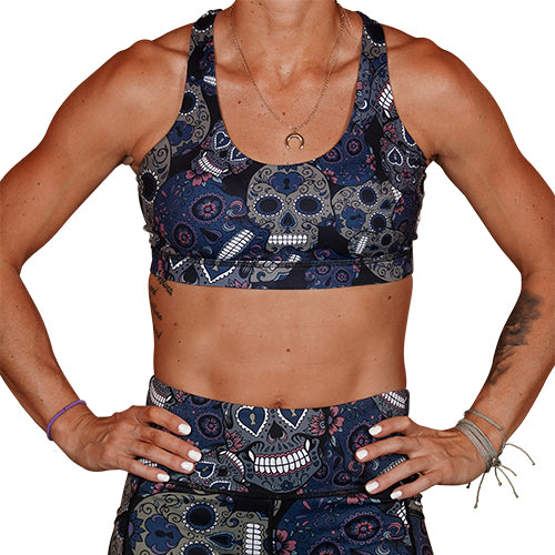 Midnight Skull Sports Bra
