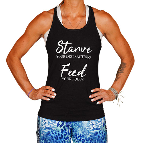 Starve Your Distractions Feed Your Focus Open Back Tank Top