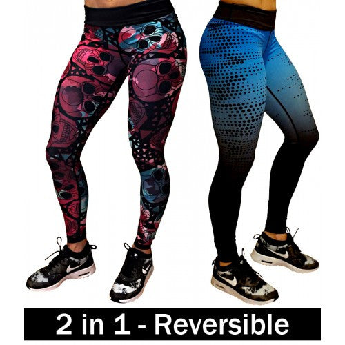 Reversible Leggings - Skulls & Ombre