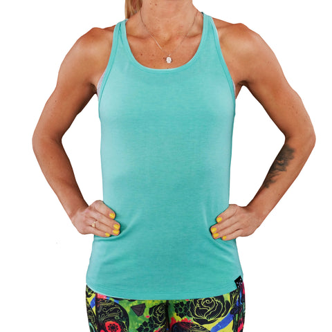 Basic Teal Open Back Tank Top