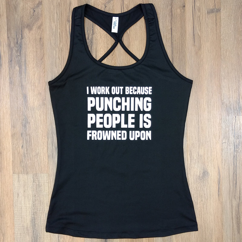 9fa7f77c29adf I Work Out Because Punching People Is Frowned Upon Tank Top