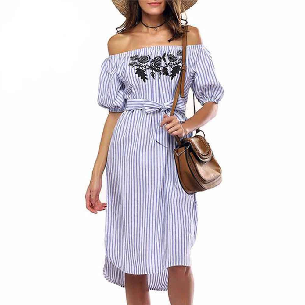 Azula Striped Off Shoulder Dress For Women