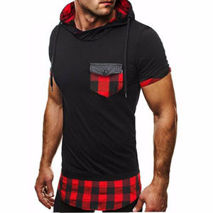 Men's Plaid Pocket Hoodie Short Sleeve
