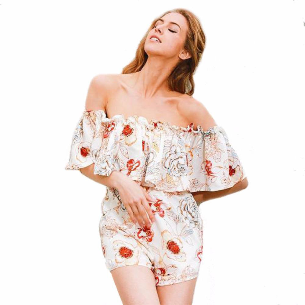 Women's Off Shoulder Floral Romper