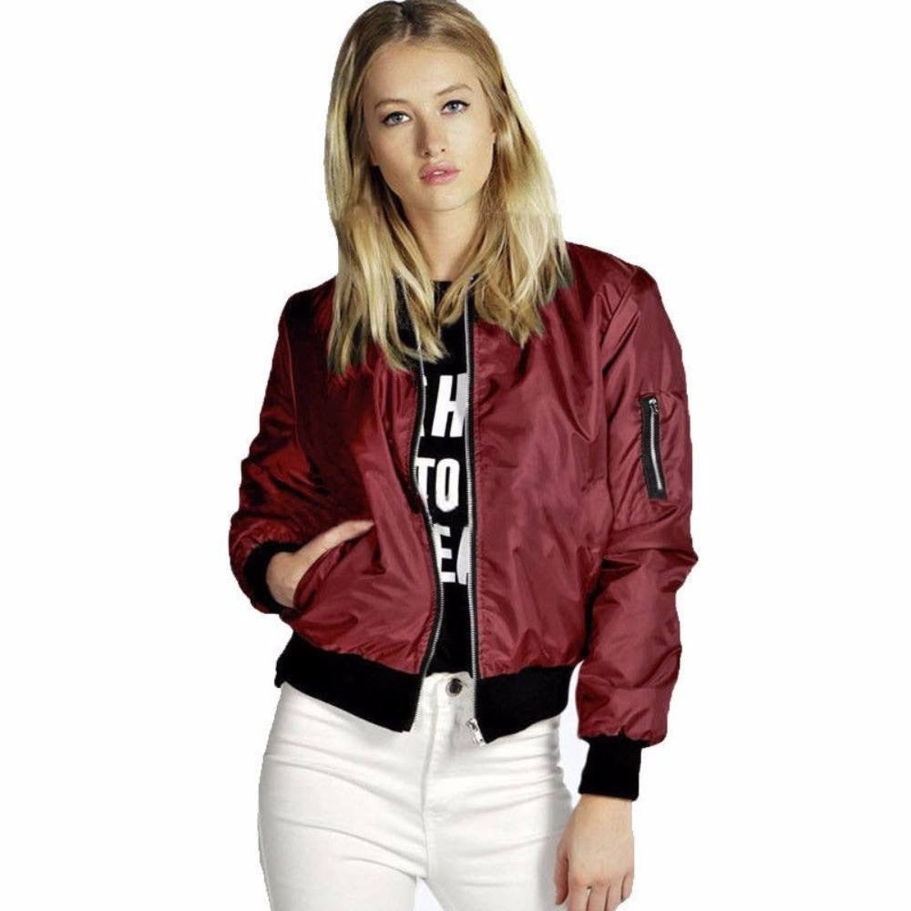 Thin Long Sleeve Bomber Jacket For Women