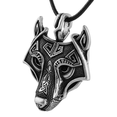 Unisex Norse Wolf Head Necklace