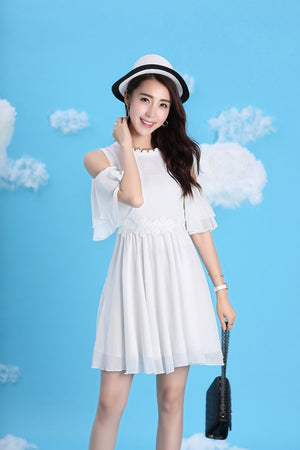 Azalea White Cold Shoulder Dress For Women