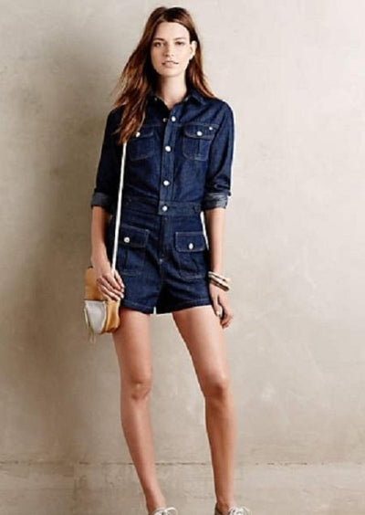 Hannah Denim Rompers For Women