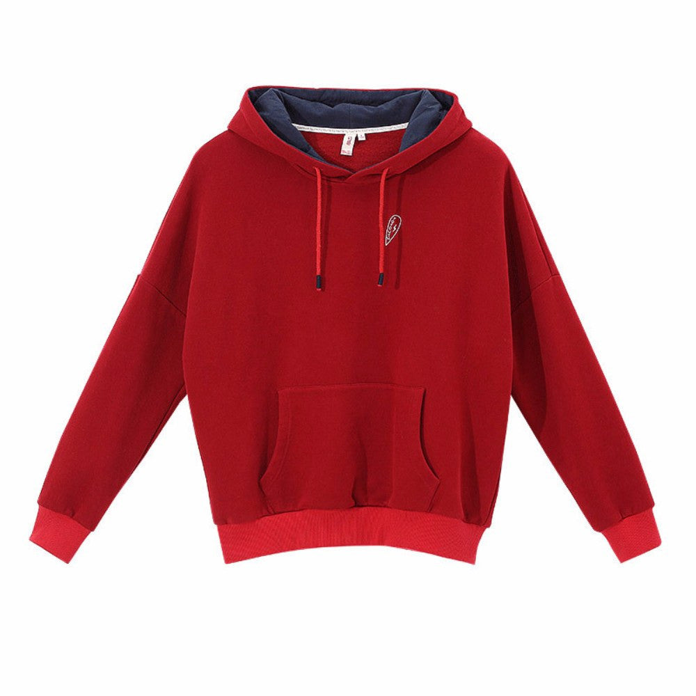 Character Embroidery Youth Hoodie For Women