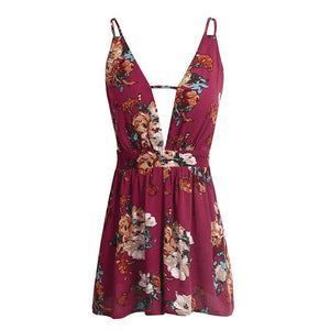Floral Print Backless Jumpsuit For Women