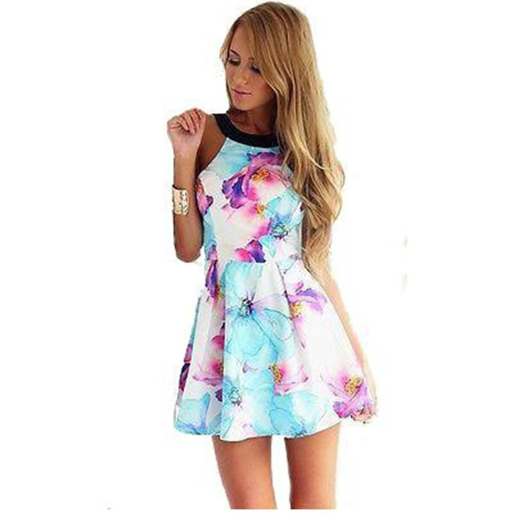 Sleeveless Mini Floral Dress For Women