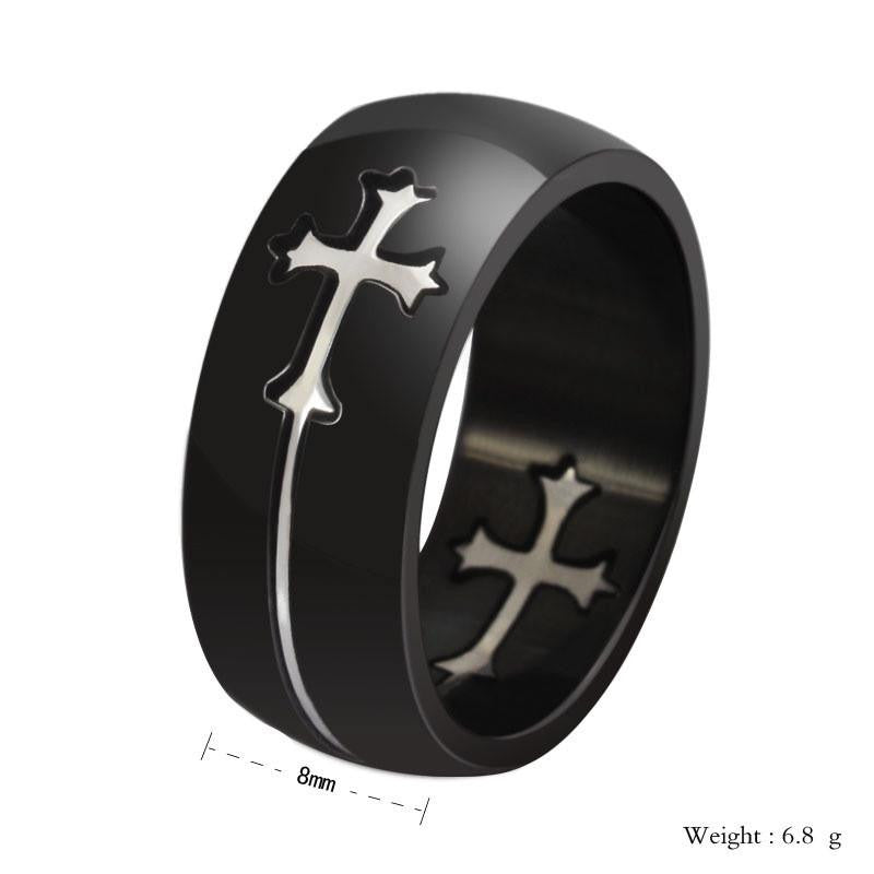 Unisex Titanium Steel Cross Ring