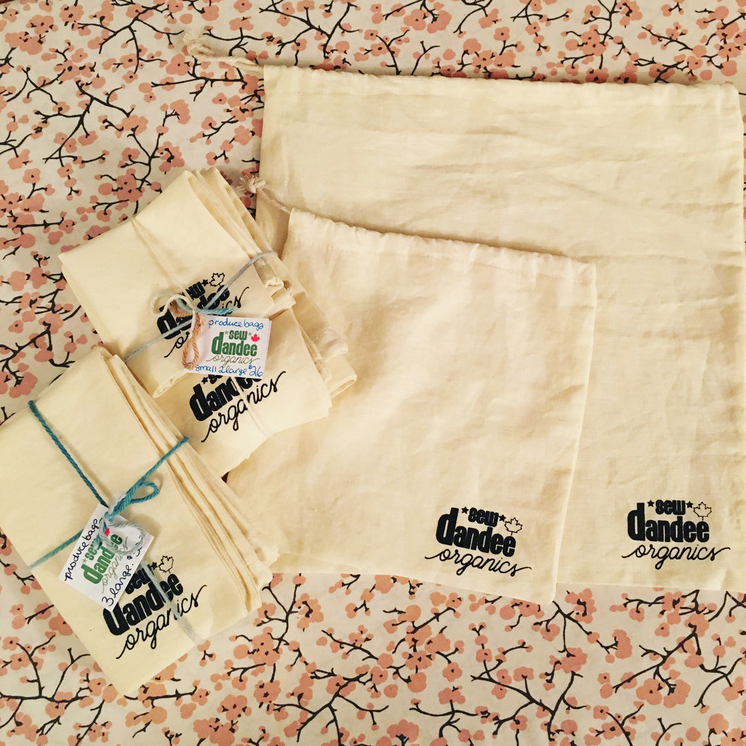 Set of 3 Hemp Produce/bulk food Bags