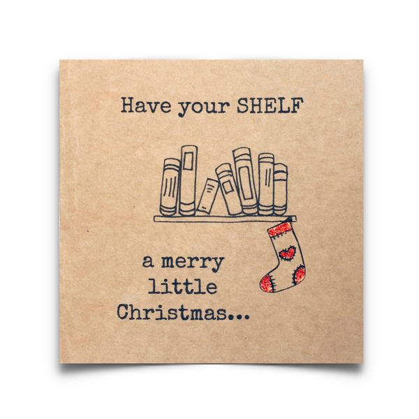 Have your shelf a merry little Christmas ard. Bookish-themed Christmas card printed on 250gsn brown Kraft card