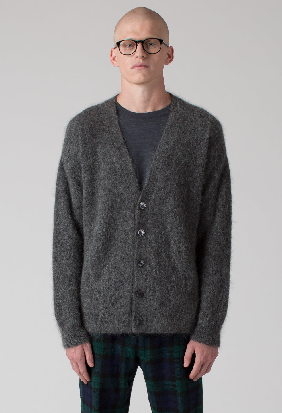 Drop Shoulder Mohair Cardigan