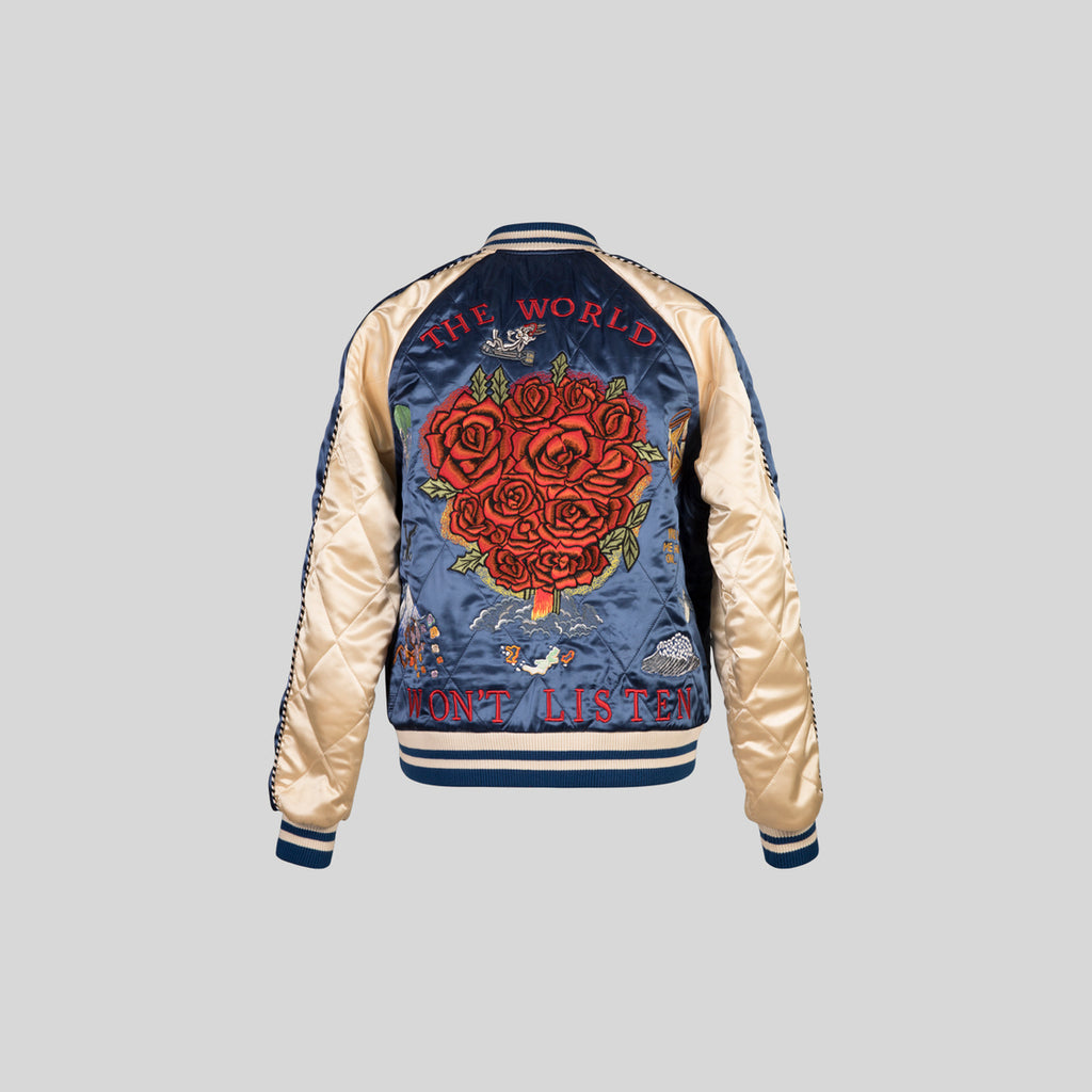 Reversible Sukajan Bomber - Royal / Champagne / Wine