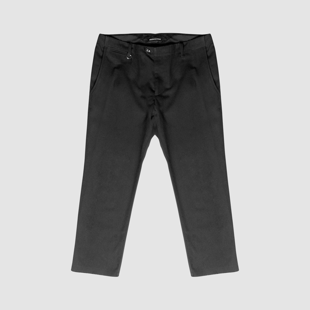 Cropped Trouser with Raw Finish - Black
