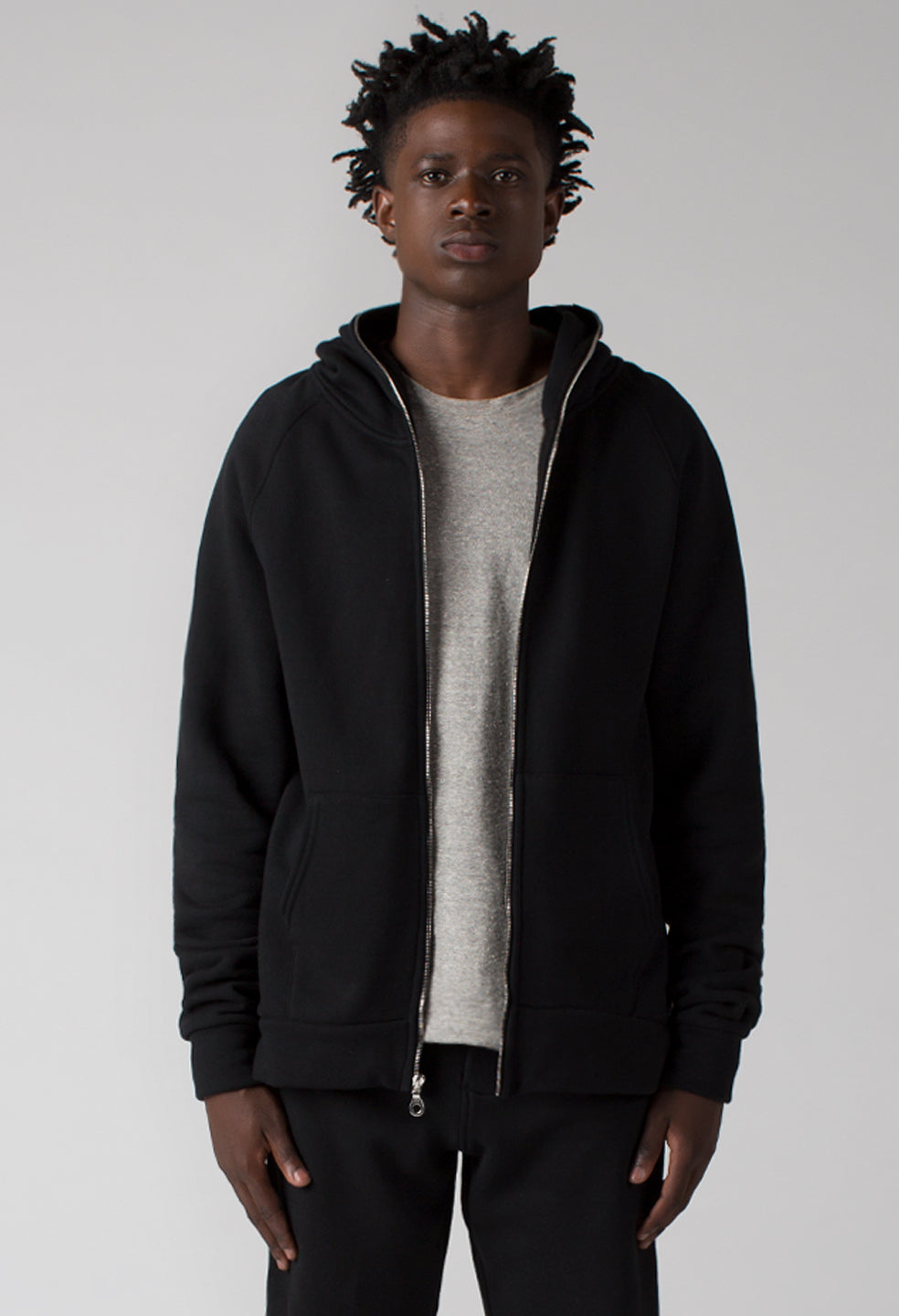 French Terry Full Zip Hoodie - Jet Black