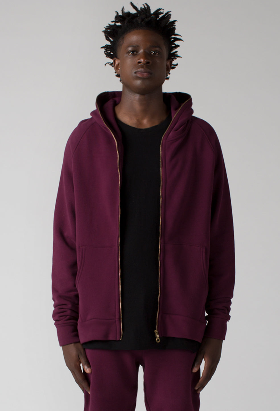 French Terry Full Zip Hoodie - Tiger Blood