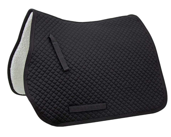 Derby Originals All Purpose Diamond Quilted English Saddle Pad with Full Fleece Lining, Black - Tack Wholesale
