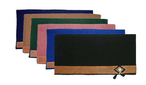 "Tahoe Tack Heavy-Duty Pure New Zealand Wool 36x34"" Saddle Blanket with Basket Weave Leather Accents"