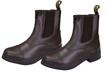 Front Zip Synthetic Boots with Italian Soles-Close Out