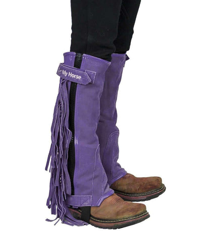 "Tahoe Tack Kids Suede Leather Multi Purpose ""I Love My Horse"" Western Chaps with Fringes - Tack Wholesale"