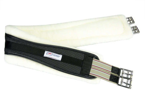 Derby Professional Air Tech Breathable Elastic English Girth with Removable Fleece Padding - Tack Wholesale