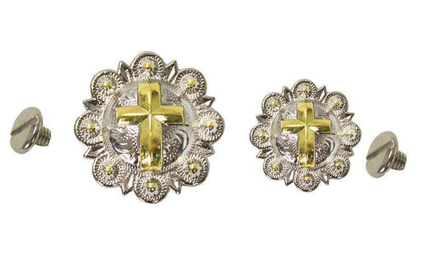 Shiny Silver and Gold Cross Conchos with Screw Back - Tack Wholesale