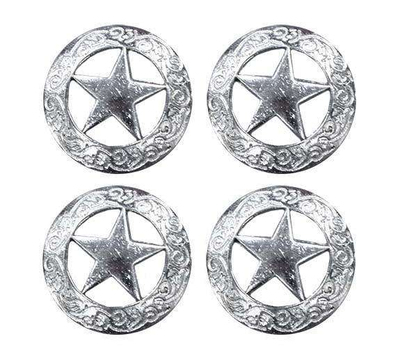 Flat Silver Star Conchos with Screw Back - Lot of 4 - Tack Wholesale