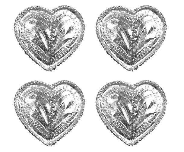 Brass Silver Heart Concho with Rope Edge - Lot of 4 - Tack Wholesale