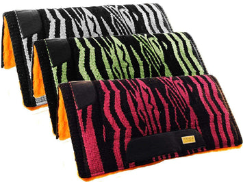 Tahoe Tack Wild Zebra Horse Saddle Pads with Wool Top & Fleece Padding - Tack Wholesale