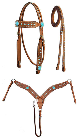 Tahoe Turquoise Western Headstall, Breast Collar & Reins Set - Tack Wholesale