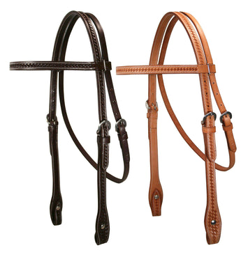 Tahoe Basket Weave Browband Headstall USA Leather- CLOSEOUT