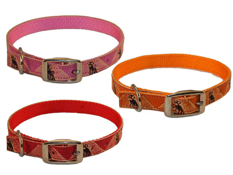 "CuteNfuzzy Hand Painted Leather Overlay Dog Collars 14""-18"" - Tack Wholesale"