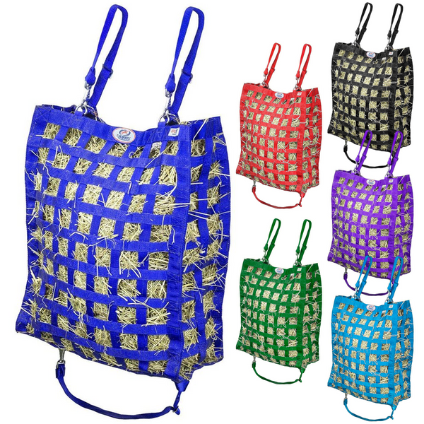 Royal blue hay bag with five other colors of hay bag shown to the right.