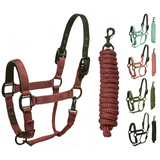 Derby Originals Desert Rose Collection Blackout Reflective Safety Flex-Webb Horse Halters with Matching Lead Ropes