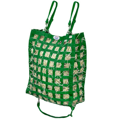 Hunter green four sided hay bag.