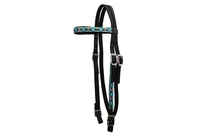 Tahoe Tack Patterned Double Layer Nylon Western Browband Headstalls for Horses Available in 6 Colors