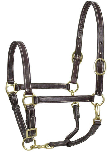 Derby Originals American Elegance Series - Convertible Double Stitch Leather Grooming Full Horse Halter - USA Leather - Tack Wholesale