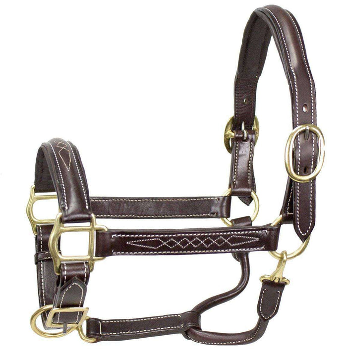 Paris Tack American Elite Series Fancy Stitch Padded Adjustable Halter - USA Leather