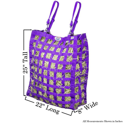 Size chart for purple four sided hay bag.