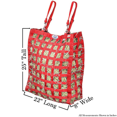 Size chart for red four sided hay bag.