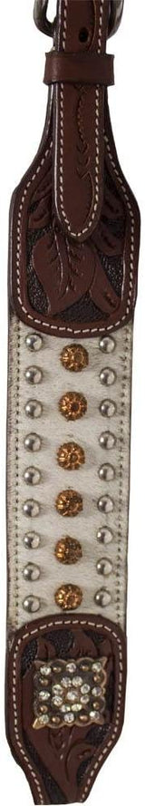 Tahoe Tack Soft White Show Studded Hair-On Cowhide Western Browband Headstall