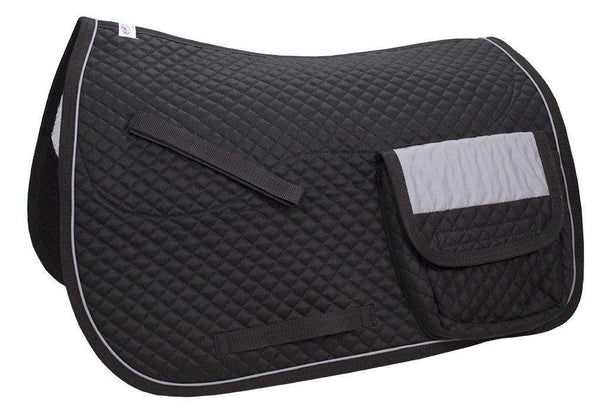 Derby Originals All Purpose Quilted English Saddle Pad with Reflective Pockets - Tack Wholesale
