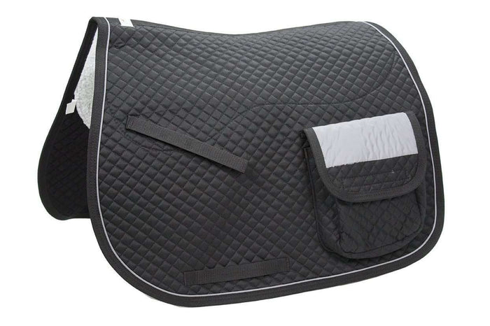 Trail Riding Reflective English Dressage Saddle Pad with Pockets - Tack Wholesale